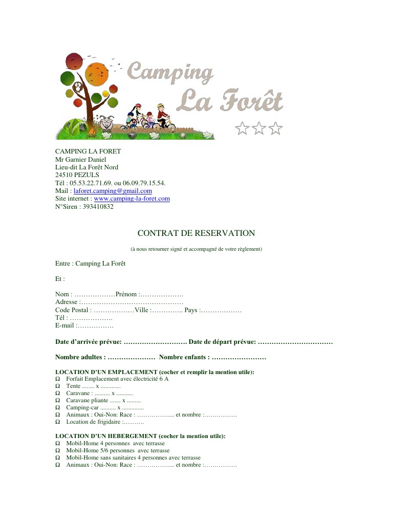 Contrat de location mobilhome